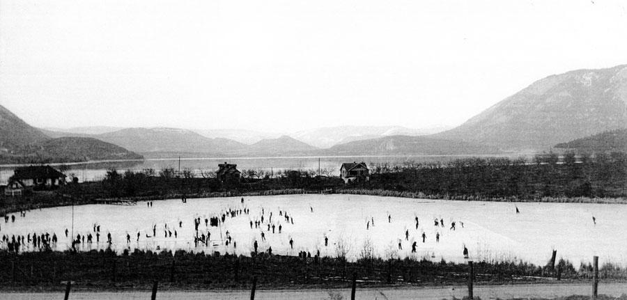 Skating on McGuire Lake, 1938